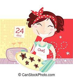 tillverkning, småkakor, kvinna, jul