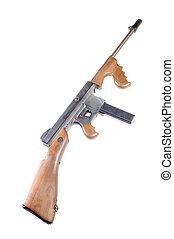 titta, gevär, isolerat, maskin, lika, thompson, vit