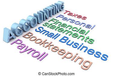 tjänsten, bokföring, pålaga, avlöningslistan, ord