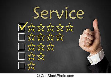 tjalla, service, uppe, tummar, stjärnor, chalkboard