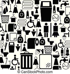 toalett, icon., seamless, fond mönstra