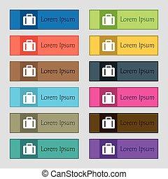 tolv, sätta, high-quality, knäppas, skylt., rektangulär, färgrik, sajt., vektor, resväska, vacker, ikon