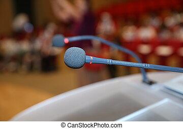 tom, främre del, chairs., konferens, rum, konferens, för, mikrofoner, nära, händelse, uppe, seminarium, mikrofon, bakgrund