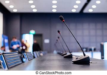 tom, press, conference., möte, mikrofoner, rum, närbild