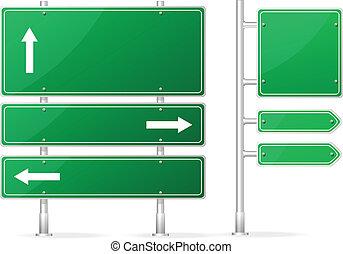 tom, vektor, grön, vägmärke