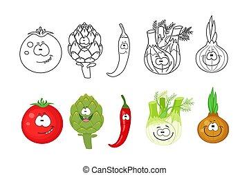 tomat, sidor, bok, grönsaken, tecknad film, kids., set., kolorit
