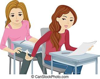 tonåring, fuska, flickor, listig, examen