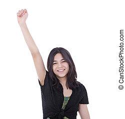 tonåring, upprest, framgång, ung, en, tillitsfull, flicka, arm