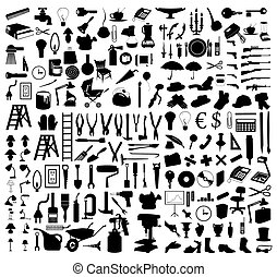 tools., illustration, silhouettes, vektor, olika, undersåten