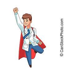 toppen, läkare, tecken, flygning, komiker