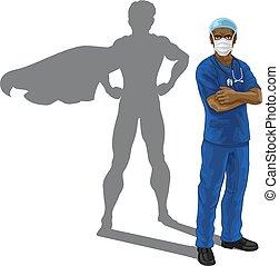toppen, superhero, läkare, sköta, skugga, hjälte