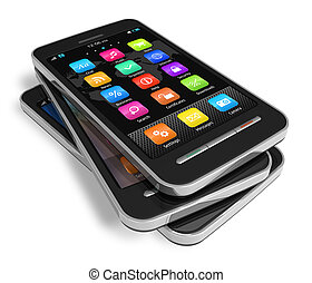 touchscreen, sätta, smartphones