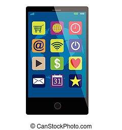touchscreen, smartphone, svart