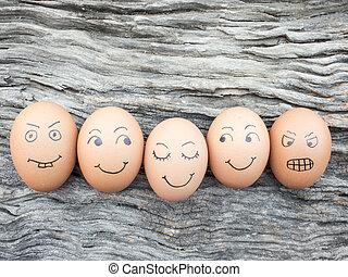 trä, ägg, lagt, familj, golv