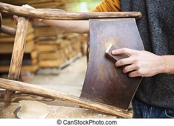 trä, återställande, möblemang