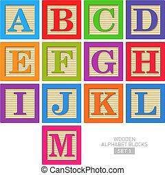 trä alfabet spärrar