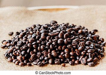 trä, bönor, kaffe, hög, golv
