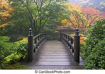 trä bro, japanska trädgård, falla