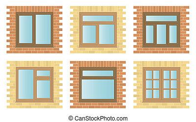 trä, fönstren, sätta, yttre