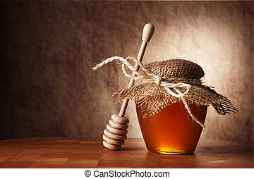 trä, honung, kruka, tabell., käpp