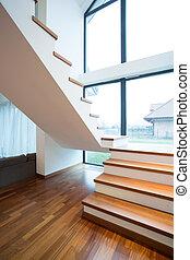 trä, stairway, fristående hus