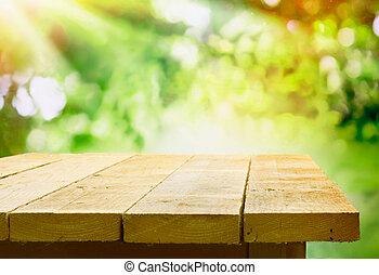 trä tabell, bokeh, trädgård, tom