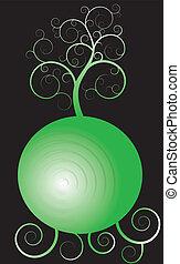 träd, över, grönt krets