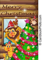 träd, dekorerat, omgiven, djuren, jul