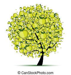 träd, din, äpple, design, energi