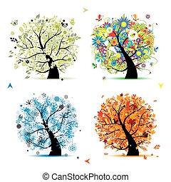 träd, din, fjäder, winter., kryddar, -, höst, sommar, konst, fyra, design, vacker