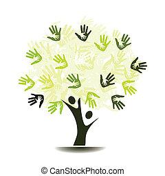 träd, handflator