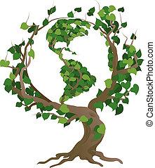 träd, illustration, vektor, värld, grön