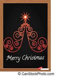 träd, jul, chalkboard