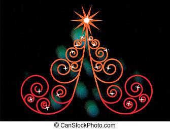 träd, jul, virvla runt