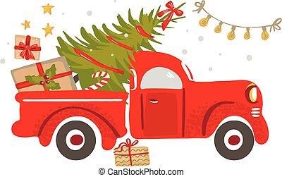 träd., röd transportera, jul