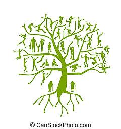 träd, silhouettes, släkt, familj, folk