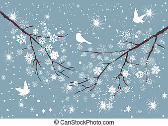 träd, snö