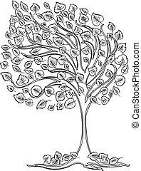 träd, teckning, linda, vektor