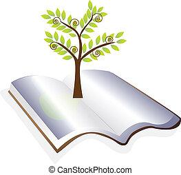 träd, vektor, öppen beställ, logo