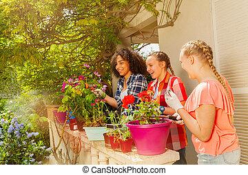 trädgård, arbete, solig, flickor, dag, lycklig