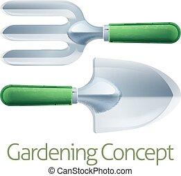 trädgårdsarbete, begrepp, redskapen