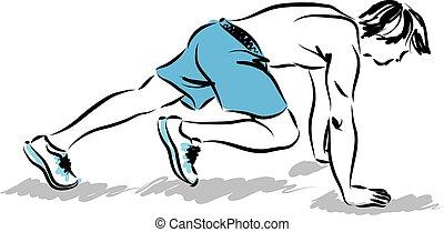 träningen, atlet, sträckande, illinois, man