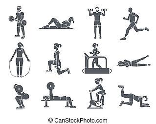 träningen, gymnastiksal, sport, ikonen