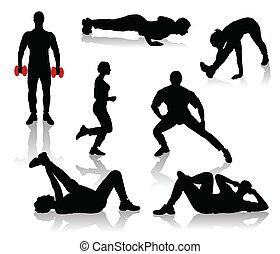 träningen, silhouettes, folk