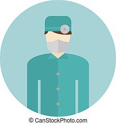 tröttsam, eller, silhuett, skura, läkare, medicinsk, maskera, ansikte, vector., kirurg, sköta, ikon