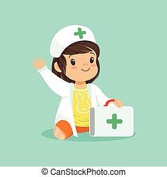 tröttsam, flicka, läkare, täcka, hand., tecken, tecknad film, vinka, s, holdingen, resväska, baby, le, liten knatte, hatt, medicinsk