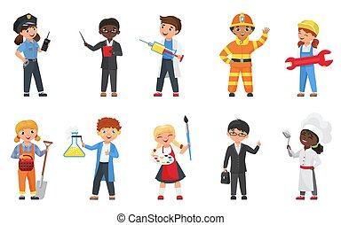 tröttsam, likformig, professionsen, ge sig sken, lycklig, tecken, sätta, lägenhet, olik, barn, lurar, tecknad film