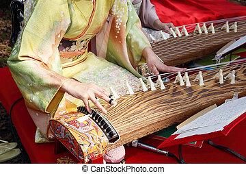 traditionell, instrument, japansk