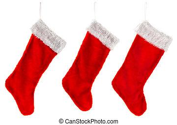 traditionell, jul, tre, strumpa, röd
