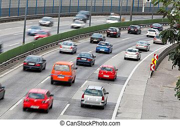 trafik, bilar, marmelad, stras, motorväg